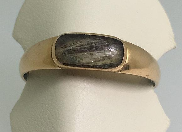 An Art-Deco 15K Gold Hair Compartment Memorial Ring