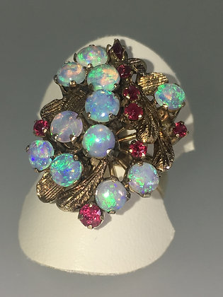 Opal & Ruby Cocktail Vintage Ring in 18K Yellow Gold