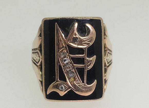 Old Shriner's Masonic Onyx & Rose Cut Diamond Signet Ring