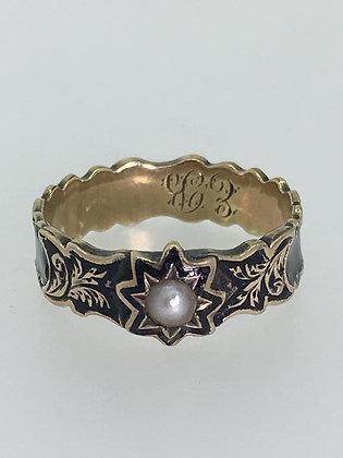 An Antique 9K Gold, Black Enamel & Pearl Dedication Ring