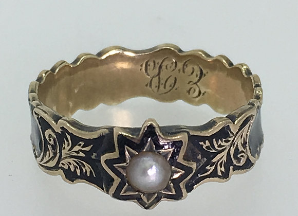 An Antique 9K Gold, Black Enamel & Pearl Dedication Ring