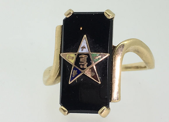 Gold, Enamel & Black Onyx Masonic Ring