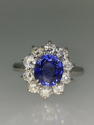 2.00ct Oval Ceylon Sapphire & Diamond Ring in Platinum