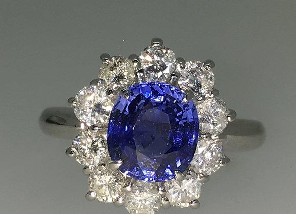 2.00ct Oval Ceylon Sapphire & Diamond Ring in Platinum