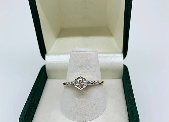 0.35ct Transitional Cut Diamond Engagement Ring in 18 Gold/Platinum