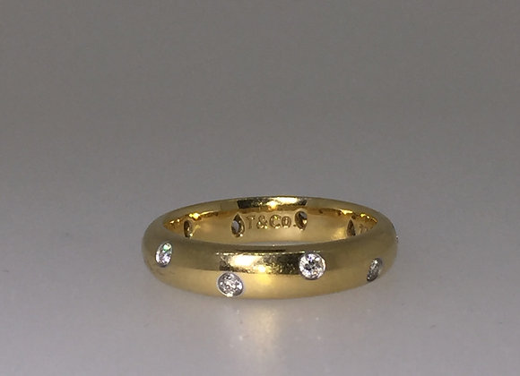 TIFFANY & Co. 18K Yellow Gold & Platinum Etoile Diamond Band