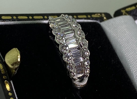 1.00ct Baguette & Round Diamond Cluster Ring In 14K White Gold. Hinged Band.