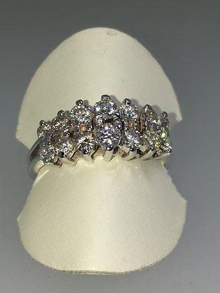 18K White Gold Two Row Diamond (0.85ct) Pyramid Shaped Band
