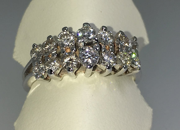 18K White Gold Two Row Diamond (0.85ct) Pyramid Shaped Band