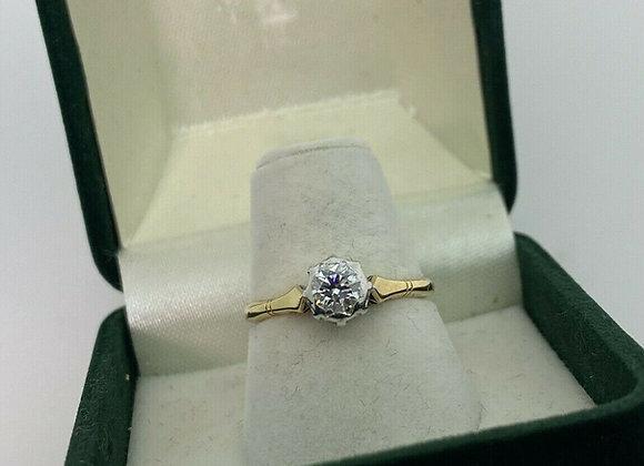 0.50ct Old-European Cut Solitaire Diamond Ring in 18K Gold/Platinum