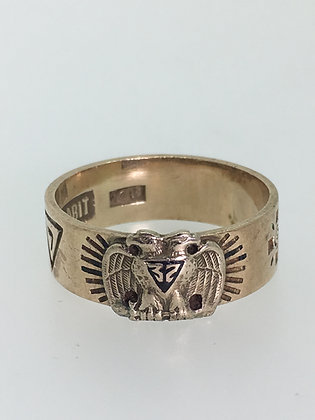 10K Gold Masonic Ring featuring 32nd Degree Double-Headed Eagle