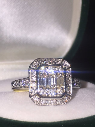 0.85ct Diamond Engagement Cluster Ring in 9K White Gold