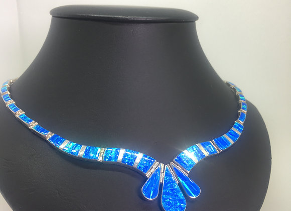Fine & Rare Vintage Solid Opal Necklace in 925 Sterling Silver