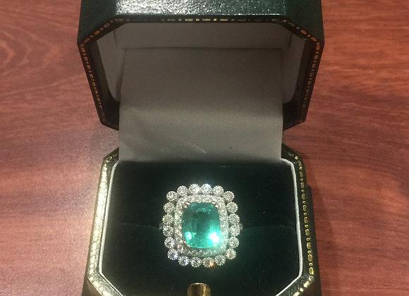 Vivid Green Oval Emerald & Diamond Cocktail Ring