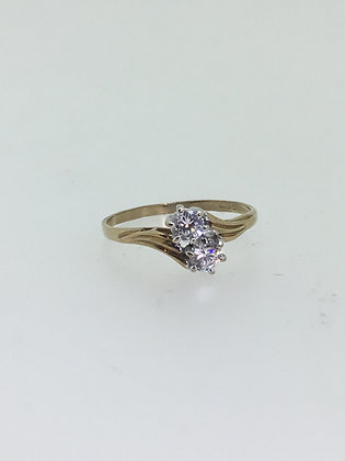 2-Stone Diamond Ring in 9K Yellow Gold