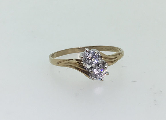 2-Stone Diamond Ring in 9K Yellow Gold