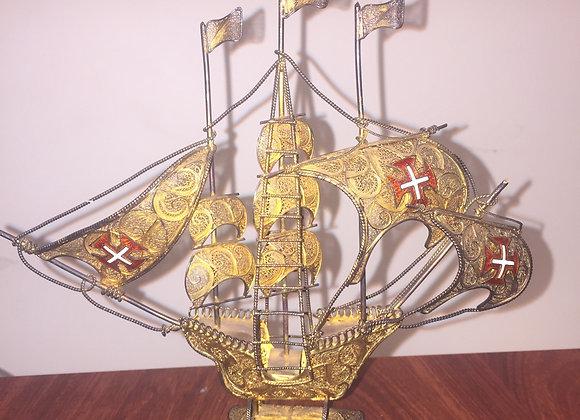 Ornamental 925 Silver (Silver Gilt) Sailing Ship