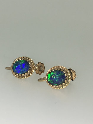Vintage 1960's 9K Yellow Gold and Boulder Opal Clips