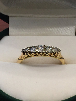 5-Stone Diamond Half-Hoop Ring in 18k Yellow Gold