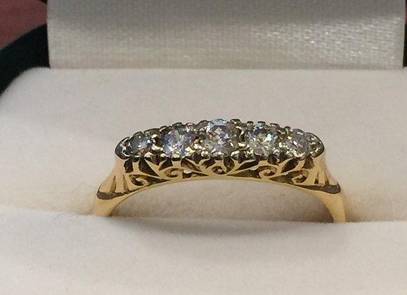 5-Stone Diamond Half-Hoop Ring in 18k Yellow Gold