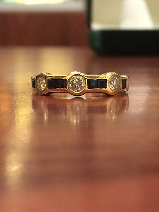 Sapphire & Diamond Ring/Band in 18K Yellow Gold