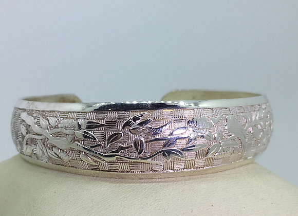 Finely Engraved 925 Sterling Silver Vintage Bangle