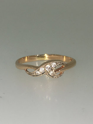 14K Rose Gold & Diamond Vintage 1970's Ring