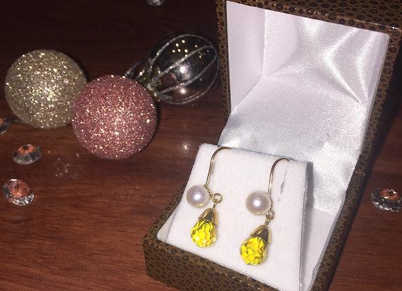 Rose Gold, Citrine & Pearl Pendant Earrings