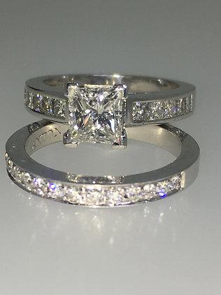 1.01 Princess Cut Diamond Ring (+ GIA) & 0.70ct Matching Wedding Band by Anton