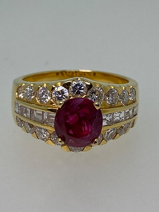 Magnificent 1.60ct Burmese Ruby & Diamond Ring in 18K Gold