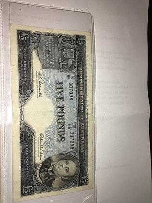 An Australian 5 Pounds 1960's Banknote