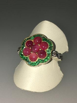 Vintage Ruby, Emerald & Rose Cut Diamond Flower Shaped Ring