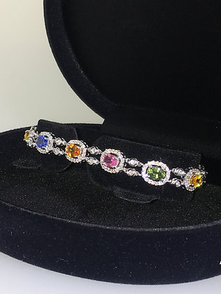 Multi-Coloured 6.50ct Sapphire & Diamond Bracelet in 18K White Gold