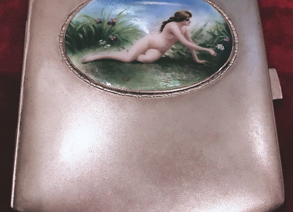 An Art Nouveau Alpaca and Enamel Cigarette Case, circa 1920's