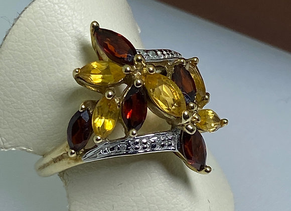 Marquise Shaped 1.00ct Garnet & 0.80ct Citrine Cluster Ring in 9K Gold