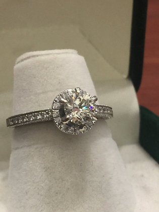Solitaire with Accents Diamond Ring in 18K White Gold