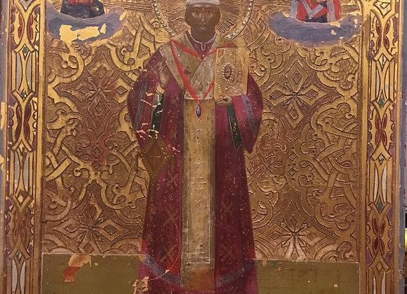 An Antique Decorative late XIXc Imperial Russia St Nicholas Icon