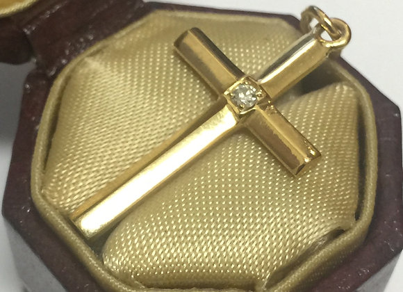 18K Yellow Gold & Diamond Cross