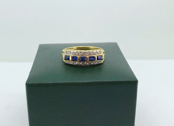 Royal Blue Sapphire & Diamond Cocktail Ring