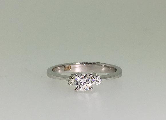 Three-Stone Diamond Ring in 18K White Gold