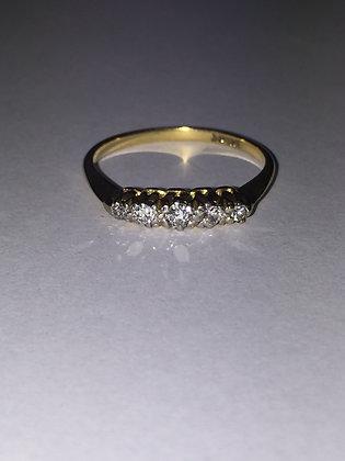 Five-Stone Diamond & 18K Gold Ring