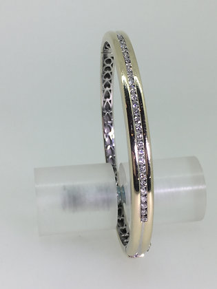 18K White Gold & Channel Set Diamond (0.60ct) Spanish Bangle