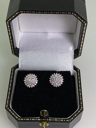 1.00ct (in total) Diamond Cluster 9 mm Stud Earrings in 18K White Gold