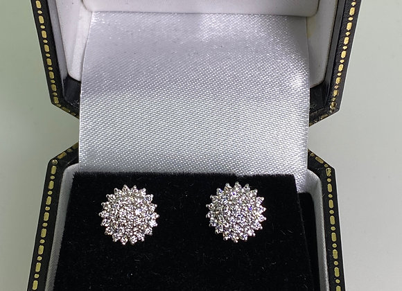 1.00ct (in total) Diamond Cluster 9 mm Stud Earrings in 18K White Gold