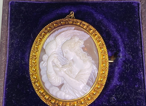 """Finely Carved Shell Cameo """"Leda & the Swan"""" Brooch Pendant in 15K Gold"""