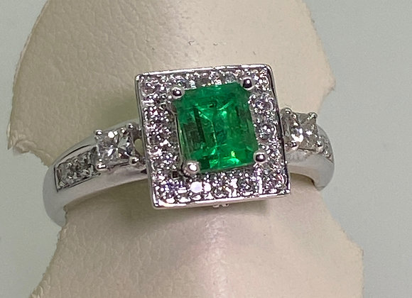 Colombian Emerald (0.78ct) & Diamond Ring in 18K White Gold
