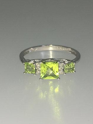 1.50ct Three-Stone Peridot & Diamond Ring in 14K White Gold