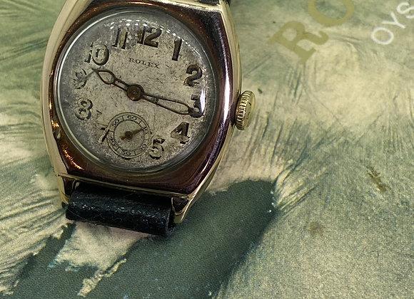 Circa 1927 Rolex Watch in 9K Rose Gold. Fine, Rare Large Hinged Case.