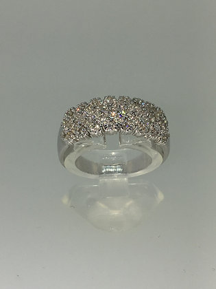 White Gold & 5-Row 0.75ct Diamond Ring/Band