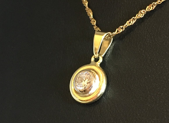 Diamond Pendant in 18K Yellow Gold on a Matching Chain
